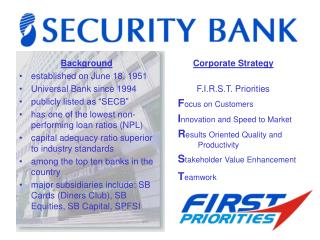 """Background established on June 18, 1951 Universal Bank since 1994 publicly listed as """"SECB"""""""