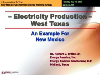 – Electricity Production – West Texas