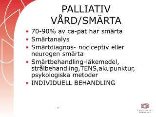 PALLIATIV VÅRD/SMÄRTA
