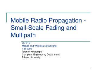 Mobile Radio Propagation -  Small-Scale Fading and Multipath