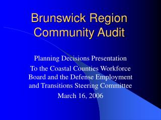 Brunswick Region Community Audit