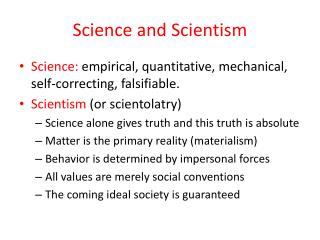 Science and Scientism