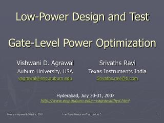 Low-Power Design and Test Gate-Level Power Optimization