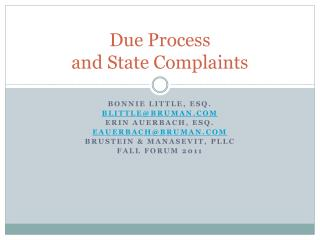 Due Process  and State Complaints