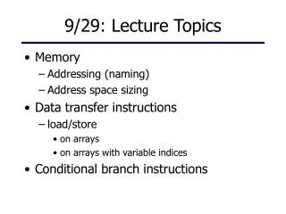 9/29: Lecture Topics