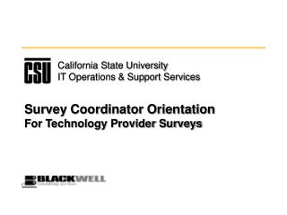 Survey Coordinator Orientation For Technology Provider Surveys