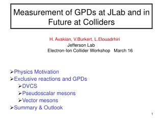 Measurement of GPDs at JLab and in Future at Colliders
