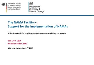 The NAMA Facility –  Support for the Implementation of NAMAs