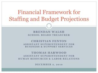 Financial Framework for Staffing and Budget Projections