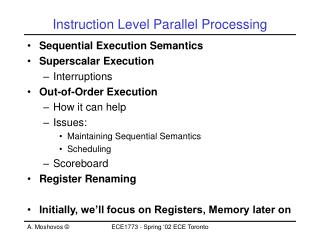 Instruction Level Parallel Processing