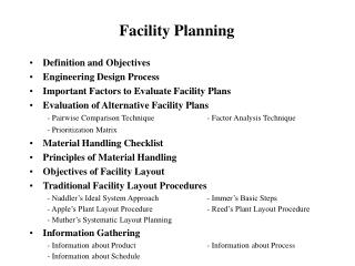 Facility Planning