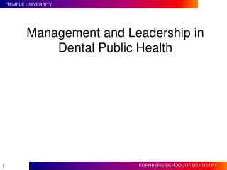 Management and Leadership in Dental Public Health
