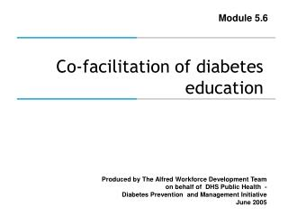 Co-facilitation of diabetes education