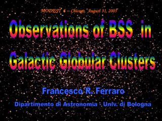 Observations of BSS  in