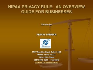HIPAA PRIVACY RULE:  AN OVERVIEW GUIDE FOR BUSINESSES