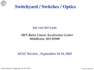 Jan van der Laan MIT-Bates Linear Accelerator Center Middleton, MA 01949