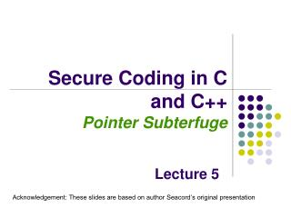 Secure Coding in C and C++ Pointer Subterfuge