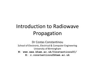 Introduction to Radiowave Propagation