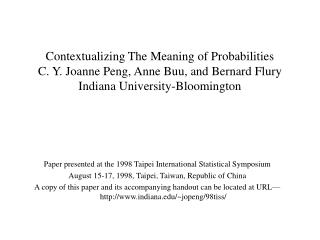 Paper presented at the 1998 Taipei International Statistical Symposium