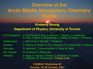 Overview of the  Arctic Middle Atmospheric Chemistry Theme