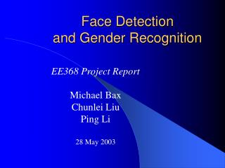 Face Detection  and Gender Recognition