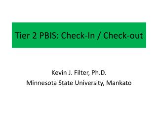 Tier 2 PBIS: Check-In / Check-out