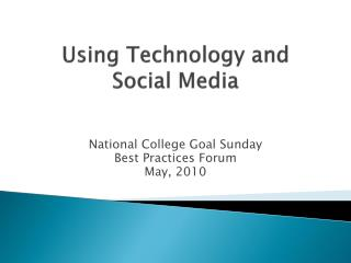 Using Technology and Social Media