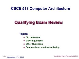 Qualifying Exam Review