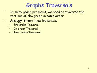 Graphs Traversals