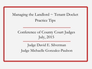 Conference of County Court Judges July, 2015
