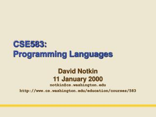 CSE583: Programming Languages