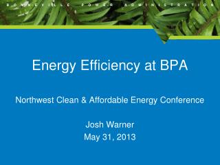 Energy Efficiency at BPA