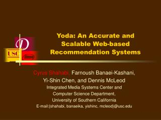 Yoda: An Accurate and Scalable Web-based Recommendation Systems