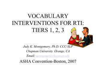VOCABULARY INTERVENTIONS FOR RTI: TIERS 1, 2, 3