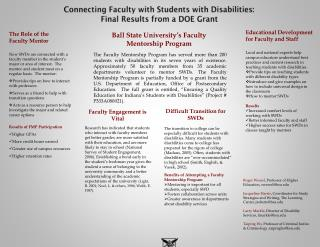 Connecting  Faculty with Students with  Disabilities: Final  Results from a DOE Grant