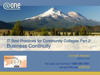 IT Best Practices for Community Colleges Part 2:  Business Continuity