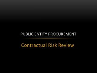 Public Entity Procurement