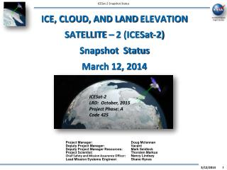 ICE, CLOUD, AND LAND ELEVATION SATELLITE   2 ICESat-2 Snapshot  Status March 31, 2012