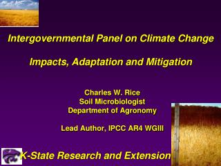 Intergovernmental Panel on Climate Change  Impacts, Adaptation and Mitigation
