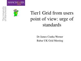 Tier1 Grid from users point of view: urge of standards
