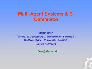 Multi-Agent Systems & E-Commerce