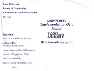 Cairo University Faculty of Engineering Electronics &Communication dpt. 4th year