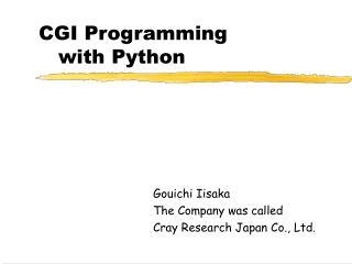 CGI Programming with Python