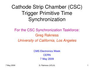 Cathode Strip Chamber (CSC) Trigger Primitive Time Synchronization