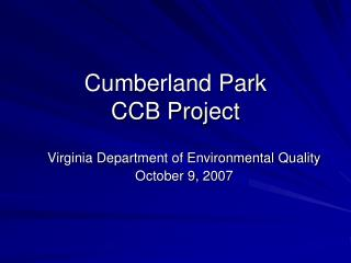 Cumberland Park  CCB Project