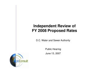Independent Review of  FY 2008 Proposed Rates