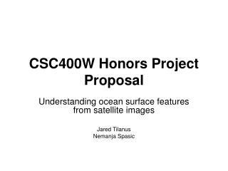 CSC400W Honors Project Proposal