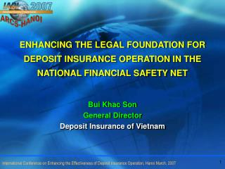 Bui Khac Son General Director Deposit Insurance of Vietnam