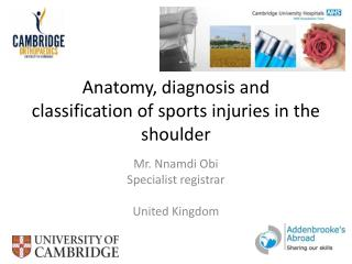 Anatomy, diagnosis and classification of sports injuries in the shoulder
