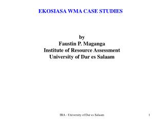EKOSIASA WMA CASE STUDIES